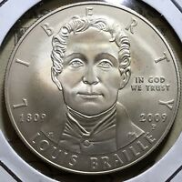2009 P LOUIS BRAILLE MS SILVER MINT STATE DOLLAR COMMEMORATIVE