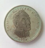 20 BALBOAS 1974 PANAMA SIMON BOLIVAR 1783 1830. WITH CASE