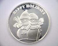 2011 CHRISTMAS ROUND 1 OZ .999 FINE SILVER | HAPPY HOLIDAYS | SNOWMAN   RC4798