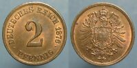 1876 F 2 PFENNIG   LUSTROUS RED & BROWN UNCIRCULATED