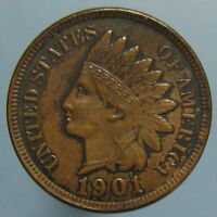 1901 INDIAN HEAD CENT   AU/UNCIRCULATED WITH BEAUTIFUL PATINA
