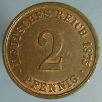 1875 A 2 PFENNING   SHARP RED & BROWN UNCIRCULATED