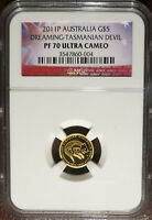 2011 P AUSTRALIA 1/25 OZ. GOLD $5 DREAMING TASMANIAN DEVIL NGC PROOF PF 70