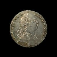 GEORGE III  EARLY COINAGE  SILVER SHILLING 1787 WITH SEMEE OF HEARTS