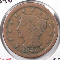 1846 1C SMALL DATE BN BRAIDED HAIR CENT FINE CONDITION 170180