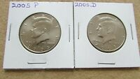 2005 P AND D KENNEDY HALF DOLLAR COINS  LOT B1