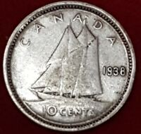 1938 CANADIAN SILVER DIME  ID 18 29