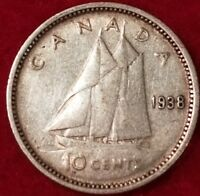 1938 CANADIAN SILVER DIME  ID 18 28
