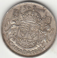 .800 SILVER 1945 GEORGE VI FIFTY CENT PIECE VF 20