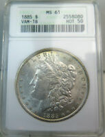 1885 MORGAN DOLLAR ANACS MINT STATE 61 VAM 1B PITTED REVERSE HOT50 CLC