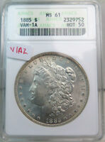 1885 MORGAN DOLLAR ANACS MINT STATE 61 VAM 1A2 PITTED REV/CLASH HOT50 CLC