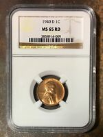 1940 D LINCOLN CENT NGC MINT STATE 65RD REV. TYE'S STACHE  40096