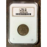 1864 TWO CENT PIECE NGC MINT STATE 63 BN REV TYE'S STACHE 1013180