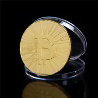1X GOLD PLATED FIJHT BITCOIN ATM COMMEMORATIVE COIN COLLECTION GIFT JH