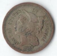 1867 UNITED STATES NICKEL 3 CENT   NICE TYPE COIN   SOME GRAFFITI ON OBVERSE