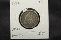 1856 USA SEATED LIBERTY QUARTER VF NICELY TONED 25 CENTS COIN.