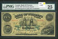 1923 BANK OF TORONTO $10 TEN DOLLARS PMG VF25. LARGE SIZE CHARTER NOTE 715 22 40