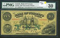 1929 BANK OF TORONTO $10 TEN DOLLARS PMG VF30 715  22 44 LARGE SIZE CHARTER NOTE