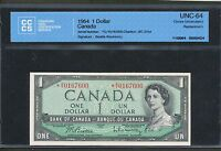 1954 $1 BANK OF CANADA REPLACEMENT  O/Y 0167600 CCCS UNC64 BC 37BA BV: $275