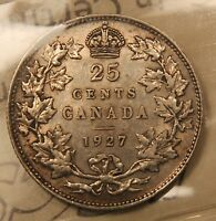 1927 CANADA SILVER 25 CENTS. ICCS VF 30. KEY DATE KING GEORGE V QUARTER.