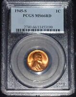 1945-S LINCOLN WHEAT CENT- PCGS MINT STATE 66 UNCIRCULATED    3199