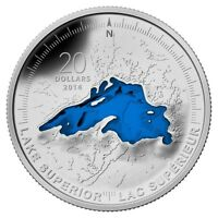 2014 CANADA $20 LAKE SUPERIOR 1 OZ PURE SILVER ENAMELED GREAT LAKES SERIES 1