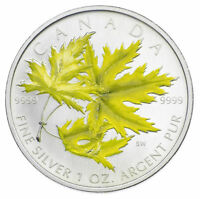 2006 COLORIZED YELLOW SILVER MAPLE LEAF 1 OZ .9999 FINE RCM ROYAL CANADA MINT