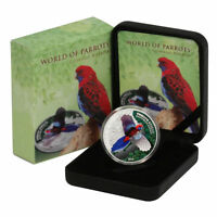 2014 AUSTRALIA CRIMSON ROSELLA 3D $5 COLORIZED PROOF SILVER COIN COOK ISLANDS