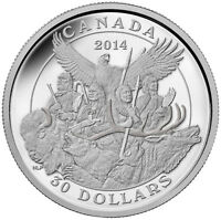 2014 $30 CANADIAN MONUMENTS: NATIONAL ABORIGINAL VETERANS MONUMENT. FINE SILVER