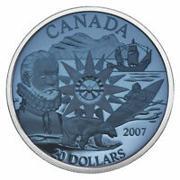 2007 PLASMA $20 DOLLARS INTERNATIONAL POLAR YEAR BLUE SILVER CANADA COIN.