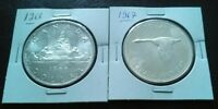 1966 AND 1967 CANADA SILVER DOLLAR COINS   TWO COIN SET. VER