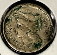 1867 P  3C THREE CENT NICKEL 18LOC1302  ONLY 50 CENTS FOR SHIPPING
