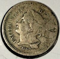 1867 P  3C THREE CENT NICKEL 18UCC1302  ONLY 50 CENTS FOR SHIPPING