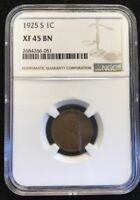 1925-S LINCOLN CENT NGC EXTRA FINE  45 BN