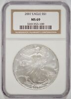 UNITED STATES 2007 AMERICAN SILVER EAGLE $1 NGC MINT STATE 69 3201353-109