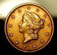 1853 TYPE 1 $1 LIBERTY HEAD GOLD PIECE   XF DETAILS