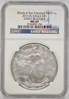 2011-S AMERICAN SILVER EAGLE $1 NGC MINT STATE 69 EARLY RELEASES 3546000-184