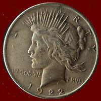 1922-P PEACE 90 SILVER DOLLAR SHIPS FREE. BUY 5 FOR $2 OFF