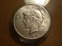 1926-S PEACE DOLLAR, EXTRA FINE -AU CONDITION IN NEW HARD CAPSULE SKU12417
