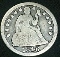 1848 10C SEATED LIBERTY DIME 10 CENT SILVER US COIN
