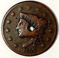 1837-P 1C CORONET HEAD LARGE CENT, 178UOC1802 ONLY 50 CENTS FOR SHIPPING