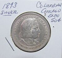 NICER 1893 COLOMBIAN CHICAGO EXPO SILVER 50C   AU TO UNC DETAILS
