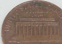 1969 D LINCOLN CENT ERROR COIN FLOATING ROOF AND CUD AT BOTTOM  MEMORIAL STEPS.