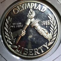 1988 S OLYMPIC PR PROOF COMMEMORATIVE SILVER ONE DOLLAR USA