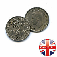 A PAIR OF 1950 BRITISH CUPRO NICKEL GEORGE VI SIXPENCE COINS