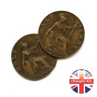 A PAIR OF 1917 BRITISH BRONZE GEORGE V HALFPENNY COINS