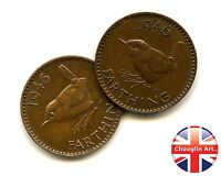 A PAIR OF 1946 BRITISH BRONZE GEORGE VI FARTHING COINS