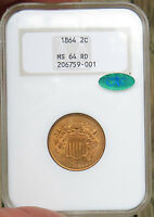 1864 2-CENT PIECE, NGC CERTIFIED MINT STATE 64 RED CAC