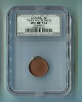 NO DATE 1C LINCOLN PENNY STRUCK 85 OFF CENTER UNC DETAILS DAMAGED NCS