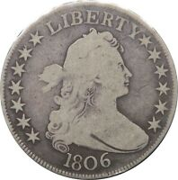 1806 DRAPED BUST HALF DOLLAR SILVER 50C  LATE DIE STATE